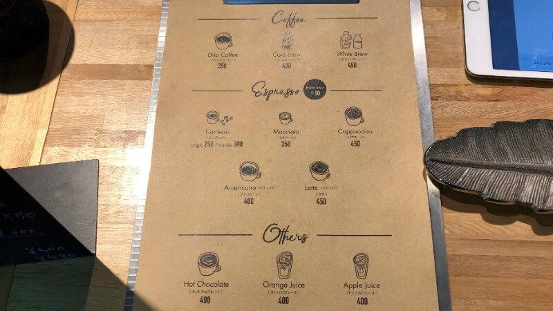 シェルターコーヒースタンドのメニュー