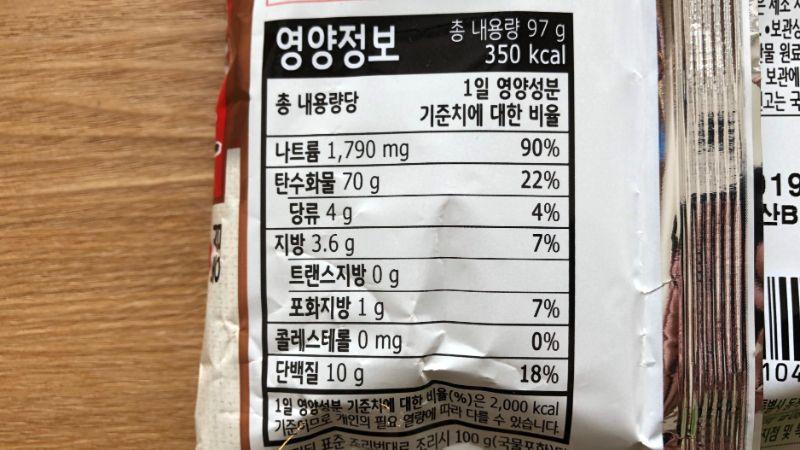 ノンフライ辛ラーメンのカロリーや原材料